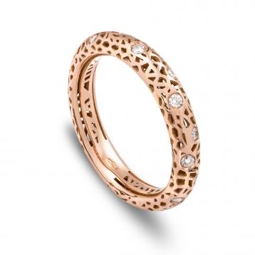 Anello fascia bassa oro rosa e diamanti