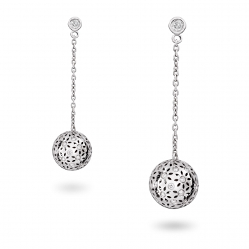 Earrings Small Globes White Gold Diamonds - MG-B-OR4360P