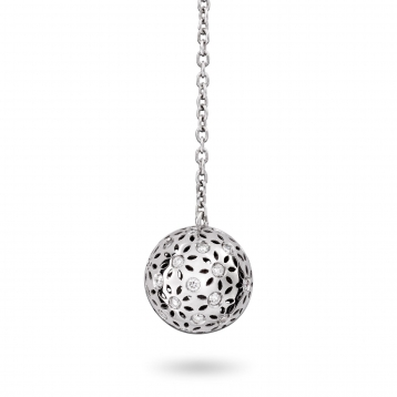 EARRINGS SMALL GLOBES white gold and diamonds