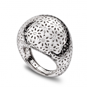 LARGE ROUNDED RING white gold and diamonds