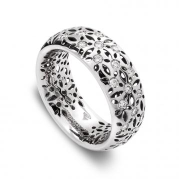 Anello fascia oro bianco e diamanti