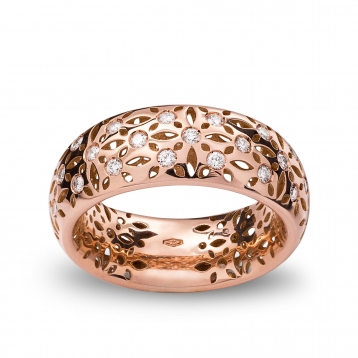 Band ring rose gold and diamonds