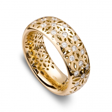Band ring yellow gold and diamonds