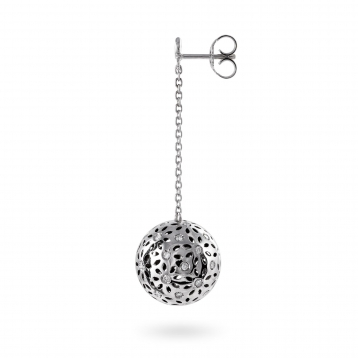 EARRINGS LARGE GLOBES white gold and diamonds