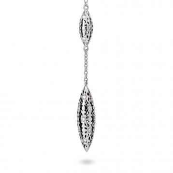 Orecchini fuseaux piccoli oro bianco e diamanti
