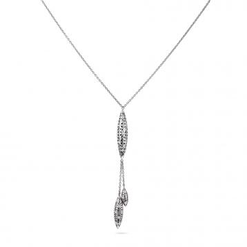 Collana tre fuseaux oro bianco e diamanti