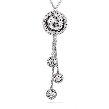 NECKLACE THREE GLOBES white gold and diamonds