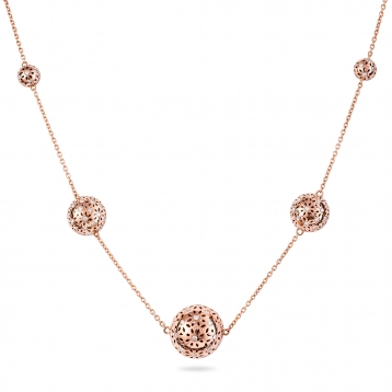 NECKLACE FIVE GLOBES rose gold and diamonds