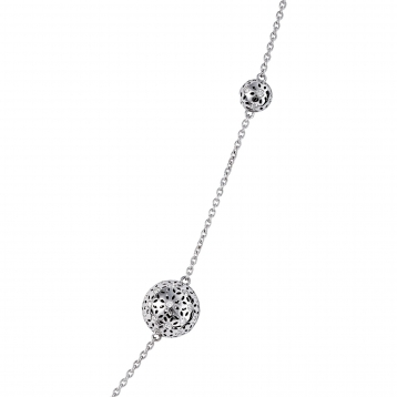 Necklace Five globes white gold diamonds