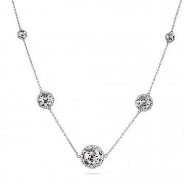 Necklace Five globes white gold diamonds
