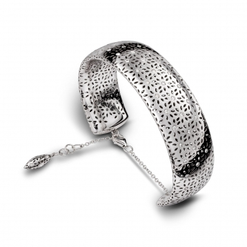 BRACELET LARGE HANDCUFF white gold and diamonds