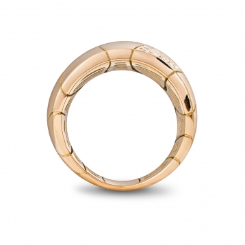 Large one band ring in rose gold and diamonds