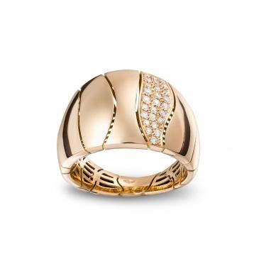 Anello piccolo a una Striscia in oro rosa e diamanti