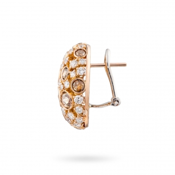 Earrings in rose gold and diamonds