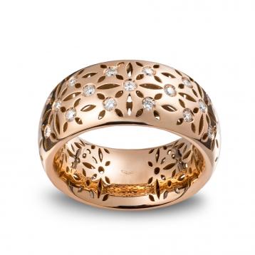Anello fascetta alta oro rosa con diamanti - MG-R-AN4846F