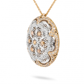 Necklace with pendant in rose gold, white gold and diamonds