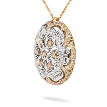 Collana con pendente in oro rosa, oro bianco e diamanti