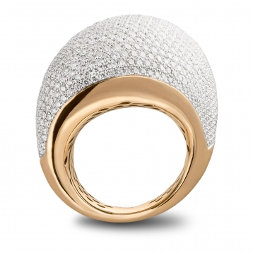Shaped ring full pavè diamonds in rose gold