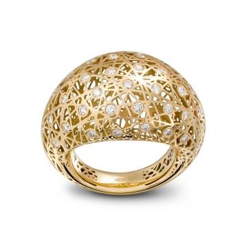 Anello bombato medio oro giallo e diamanti