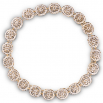 Collier rose gold, white gold and diamonds
