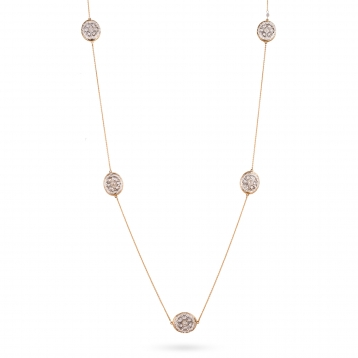 Double necklace rose gold, white gold and diamonds