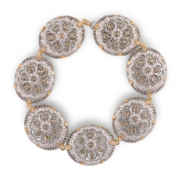 Bracelet rose gold, white gold and diamonds