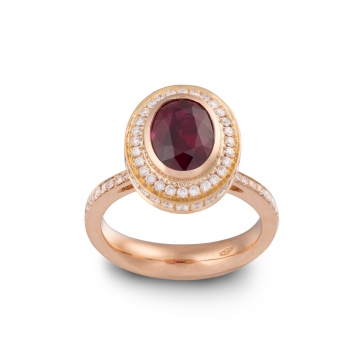 Ring with ruby, rose gold and diamonds - MMM-R-AN01RUB