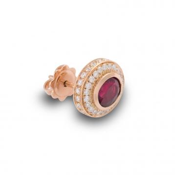 Orecchini con Rubino in Oro Rosa e Diamanti