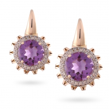 EARRINGS AMETHYST, ROSE GOLD AND DIAMONDS
