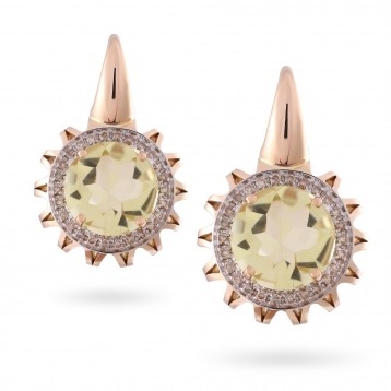 EARRINGS Maxi ROSE GOLD, LEMON QUARTZ AND BROWN DIAMONDS