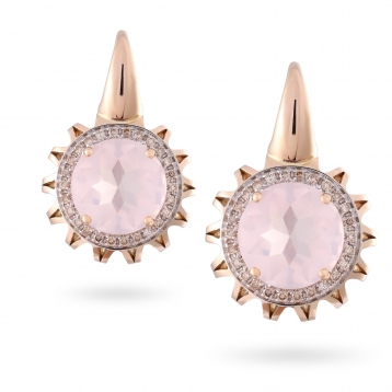 EARRINGS Maxi ROSE GOLD, PINK QUARTZ AND BROWN DIAMONDS