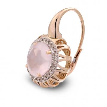 Orecchini Maxi In Oro Rosa, Quarzo Rosa e Diamanti Brown