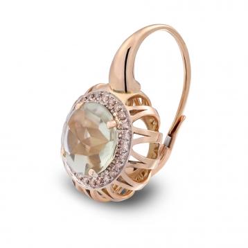 Orecchini Maxi In Oro Rosa, Prasiolite e Diamanti Brown