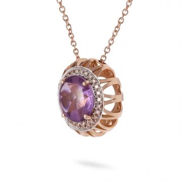 NECKLACE Maxi AMETHYST, ROSE GOLD AND BROWN DIAMONDS