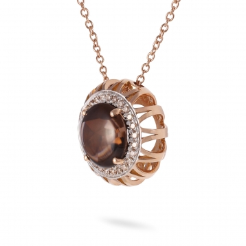 NECKLACE Maxi SMOKY QUARTZ, ROSE GOLD AND BROWN DIAMONDS
