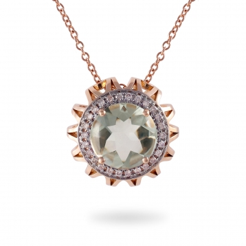 NECKLACE Maxi PRASIOLITE, ROSE GOLD AND BROWN DIAMONDS