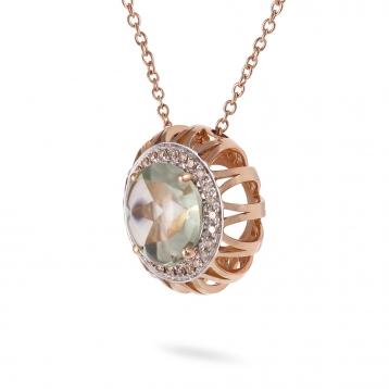 Collana Maxi In Oro Rosa, Prasiolite e Diamanti Brown