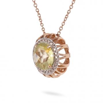 Collana Maxi In Oro Rosa, Quarzo Lemon e Diamanti Brown