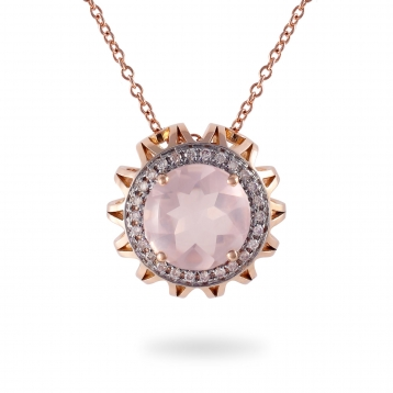 NECKLACE Maxi PINK QUARTZ, ROSE GOLD AND BROWN DIAMONDS
