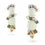 Earrings in rose gold with prehnite and green and yellow sapphires