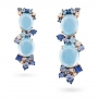 Rose gold earrings, diamonds, topaz and blue sapphires