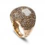 Anello bombato grande in oro rosa e diamanti brown