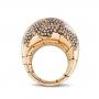 Anello bombato medio in oro rosa e diamanti brown