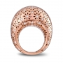 LARGE ROUNDED RING rose gold and diamonds demipavè