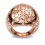 LARGE ROUNDED RING rose gold and diamonds