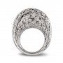 Large rounded ring in white gold and diamonds