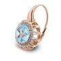 Orecchini Maxi In Oro Rosa, Topazio Azzurro e Diamanti Brown